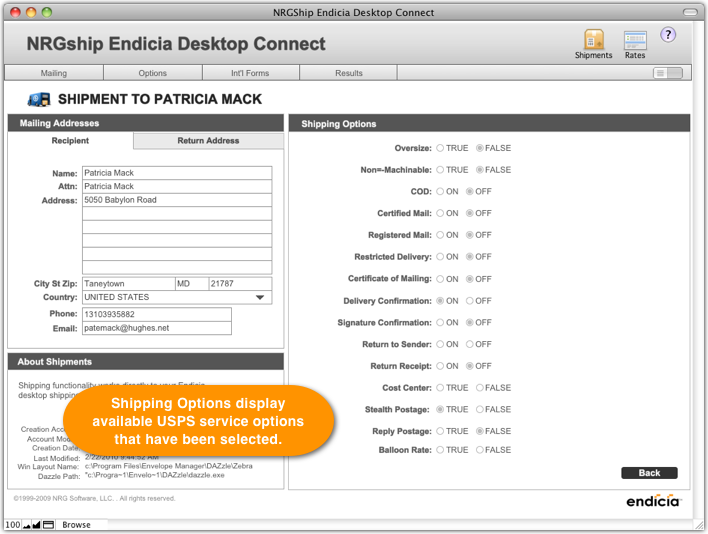 Endicia Desktop Connect Shipping Screen