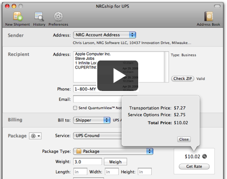 NRGship for UPS - Mac Shipping Software | NRGship